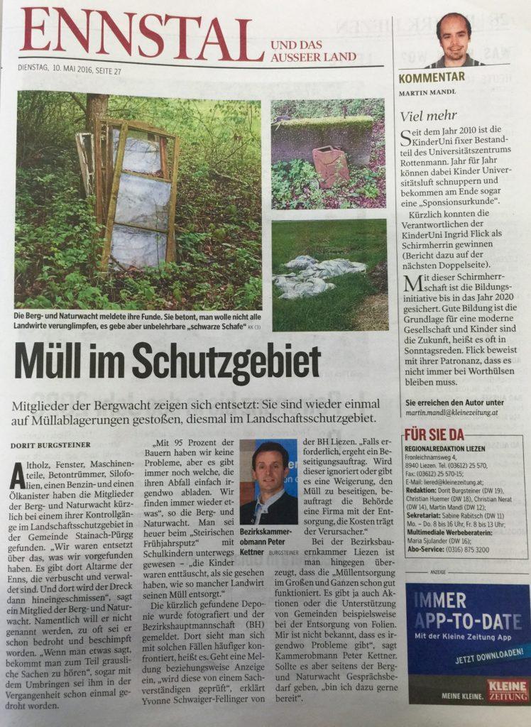 kleine-zeitung-muell-im-schutzgebiet-stainach-berg-und-naturwacht-liezen